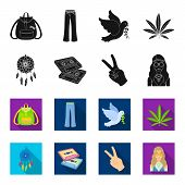 Amulet, Hippie Girl, Freedom Sign, Old Cassette.hippy Set Collection Icons In Black, Flet Style Vect poster