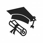 Graduation Cap And Diploma Icon Simple Vector Sign And Modern Symbol. Graduation Cap And Diploma Vec poster