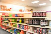 Abstract Blurred Soft Drinks Aisle At Pharmacy Store In Usa poster