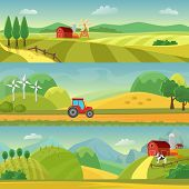 Rural Landscape With Fields And Hills And With A Farm. Agriculture And Agribusiness Farming. Rural L poster
