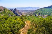 Crimea Beautiful Mountain Landscape With Footpath Photo poster