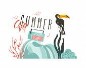 Hand Drawn Vector Abstract Cartoon Summer Time Graphic Illustrations Art Template Party Sign Backgro poster