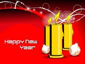 abstract red background with burning candle, decorated balls concept vector for happy new year 2012