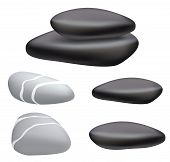 Dark And Gray Pebbles On A White Background.