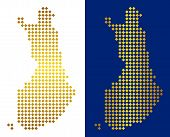 Golden Dotted Finland Map. Vector Territorial Maps In Shiny Colors With Vertical And Horizontal Grad poster