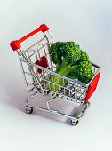 Metal Basket With A Fresh Green Broccoli In It. Food Vegetable Consumption, Shopping Concept, Pushca poster