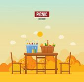 Autumn Picnic In Park Outdoor. Set Products, Vegetables, In Wicker Basket, Drinks In Bucket, Seasoni poster