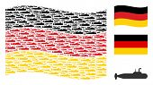 Waving German Official Flag. Vector Military Submarine Elements Are United Into Conceptual German Fl poster