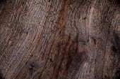 Top View Of Painted Wooden Board In Brown. Wooden Background Concept. Dark Brown Wooden Surface. Nat poster