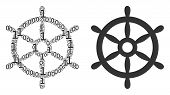 Boat Steering Wheel Collage Icon Of Binary Digits In Variable Sizes. Vector Digital Symbols Are Orga poster
