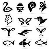 Siluetas de los iconos de animales abstractos