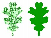 Oak Leaf Composition Icon Of Binary Digits In Randomized Sizes. Vector Digit Symbols Are Grouped Int poster
