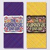 Vector Vertical Banners For Carnival Funfair, Tickets With Circus Big Top, Vintage Merry Go Round Ca poster