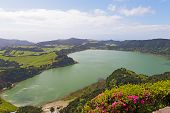 Panoramic View Of Lake (lagoa) Das Furnas, A Lake In Volcanic Crater On Sao Miguel Island In Azores, poster