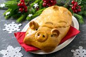 Delicious Pie With Meat In Form Of Funny Pig By New Year. 2019 Year Of Yellow Pig On Eastern Calenda poster