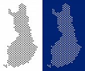 Dotted Finland Map. Vector Geographic Map On White And Blue Backgrounds. Vector Composition Of Finla poster