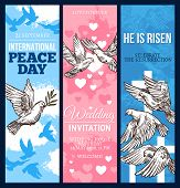Wedding Invitation, Easter Religion Holiday Greeting Card And World Peace Day Banner With Dove Of Pe poster