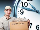 smiling delivery man and 3d clock
