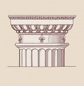 Chapiter- hand draw sketch doric architectural order. Bitmap copy my vector ID 84869047