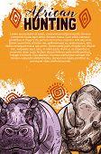 African Hunting Banner With Wild Safari Animal Sketch. Rhino And Hippo Savannah Mammal Poster, Decor poster