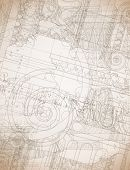 Architecture Blueprint - Hand draw sketch ionic architectural order. Bitmap copy my vector ID 84635959