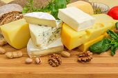 Pieces Of Different Soft And Semi-soft Cheese With Mold, Medium-hard And Hard Cheese Among Of Nuts A poster