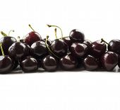 Fresh Cherries At Border Of Image With Copy Space For Text. Background Of Cherries. Ripe Cherry On A poster