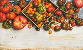 Flat-lay Of Fresh Colorful Ripe Fall Or Summer Heirloom, Bunch And Cherry Tomatoes Veriety Over Rust poster