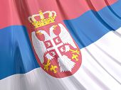 Glossy Flag Of Serbia
