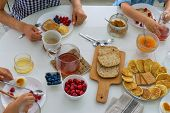 Family Breakfast With Pancake, Jam And Berries. Breakfast Set poster