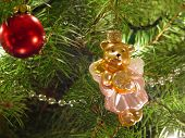 Pink Bear Ornament And Tree poster