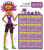 2012 calendar: Fashion shopping girl, showing message bord with perfumes