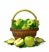 Organic Ripe Apples In A Basket. Isolated On White Background. Fragrant Fruits In A Wooden Basket. poster
