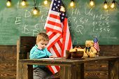 Happy Independence Day Of The Usa. Back To School Or Home Schooling. Patriotism And Freedom. Little  poster