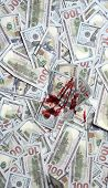 Pile Of Money With Bloody Spot, Top View. Dirty Money Concept. Dirty Criminal Profit. Dollar Marked  poster