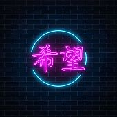 Neon Sign Of Chinese Hieroglyph Means Hope In Circle Frame On Dark Brick Wall Background. Wish For H poster