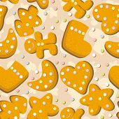 Gingerbread cookies seamless  background