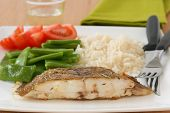 stock photo of flounder  - Fried flounder with boiled rice and vegetables - JPG