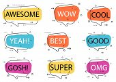 Trendy Speech Bubble Isolated Set. Awesome, Yeah, Cool, Super, Omg, Good, Best, Wow, Gosh Label Isol poster