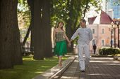 Man And Woman On A Walk In The City Park, Family Happiness, Love, Tenderness, Lived Together Years poster
