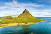 Aerial drone view of Iceland nature Kirkjufell mountain landscape in West Iceland on the Snaefellsne poster