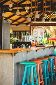 Bar Counter On The Beach In Samui, Thailand. Concept Of Relaxing, Preparation And Summer poster