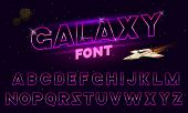 80 S Purple Neon Retro Font. Futuristic Metal Chrome Letters. Bright Alphabet On Dark Background. Li poster