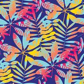 Cool Vivid Bright Color Tropical Leaves Seamless Pattern In 90s Chaotic Style. For Background, Wrapp poster