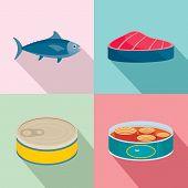 Tuna Fish Can Steak Icons Set. Flat Illustration Of 4 Tuna Fish Can Steak Vector Icons For Web poster