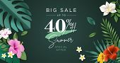 Summer Sale Vector Illustration For Mobile And Social Media Banner, Poster, Shopping Ads, Marketing  poster