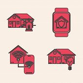 Set Smart House And Light Bulb, Smart House And Alarm, Smart Watch With House Under Protection And S poster