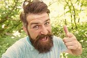 Hipster With Long Beard Emotional Face Close Up Nature Background. Summer Fun. Bearded Guy In Park F poster