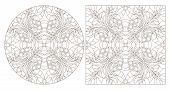 Set Of Contour Illustrations With Abstract Floral Patterns, Round And Square Image, Dark Contours On poster