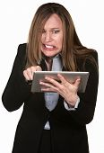 Anxious Woman With Tablet